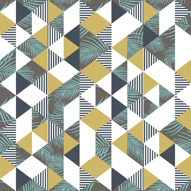 Geometrische palmblätter memphis und dreieckmuster