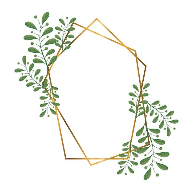 Geometrische polygonale rahmen mit goldenen linien und blättern