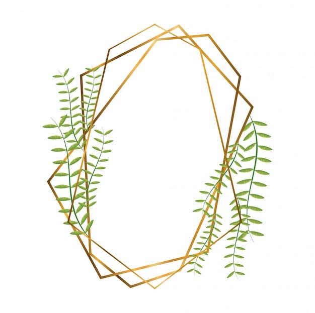 Geometrische polygonale rahmen mit goldenen linien und blättern Premium Vektoren