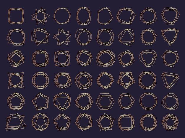 Geometrische rahmen eingestellt. polygon formen und grenzen kreativ gezeichnet abstrakte stilisierte formen dreiecke gesetzt. geometrische diamantformlinie, rahmensechseck und kreisförmige goldene lineare illustration