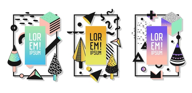 Geometrische rahmen mit abstrakten elementen. moderne kunstgrafiken für flyer, poster, banner, plakate, broschüren mit platz für text. vektor-illustration