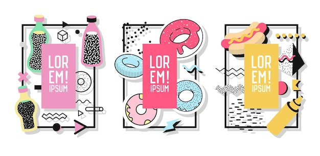 Geometrische rahmen mit abstrakten elementen und süßen speisen. moderne kunstgrafiken für flyer, poster, banner, plakate, broschüren mit platz für text. vektor-illustration