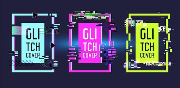 Geometrische rahmen mit glitch-effekt und platz für ihren text. moderner trendiger hintergrund für plakate, poster, banner, flyer, cover. vektor-illustration