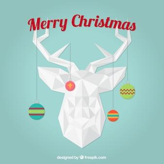 Geometrische rentier frohe weihnachten karte