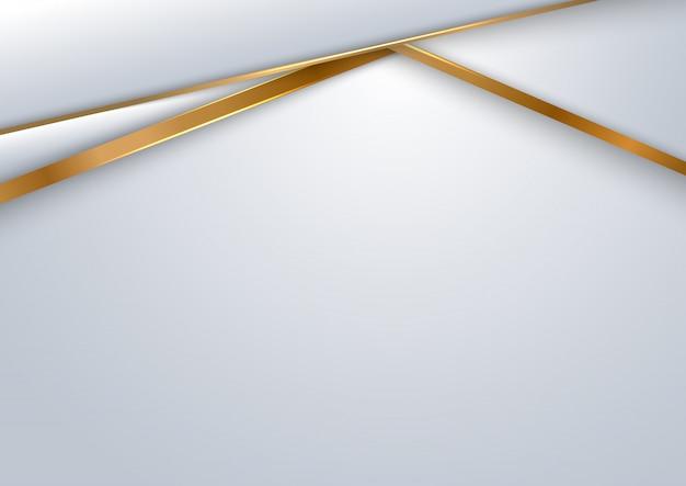 Geometrische schicht des abstrakten weißen und grauen hintergrunds mit goldener linie