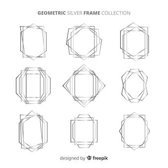 Geometrische silberrahmensammlung