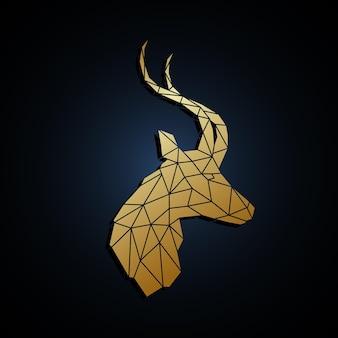 Geometrische silhouette des goldenen kopfes der antilope