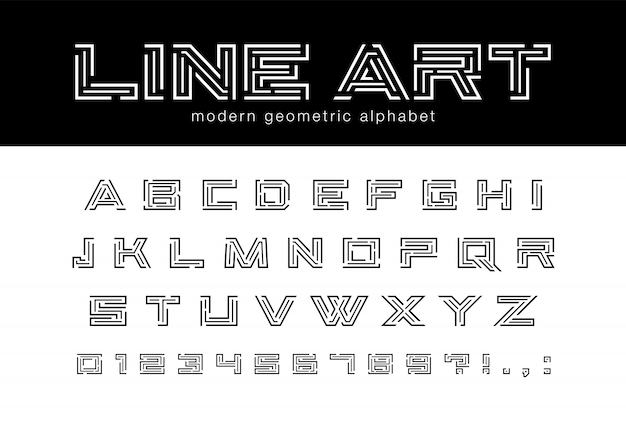 Geometrische strichgrafikschrift. technologie, futuristisches labyrinth, abstraktes alphabet der digitalen technologie. buchstaben und zahlen für netzwerkverbindung, aufbau, design des spielelogos