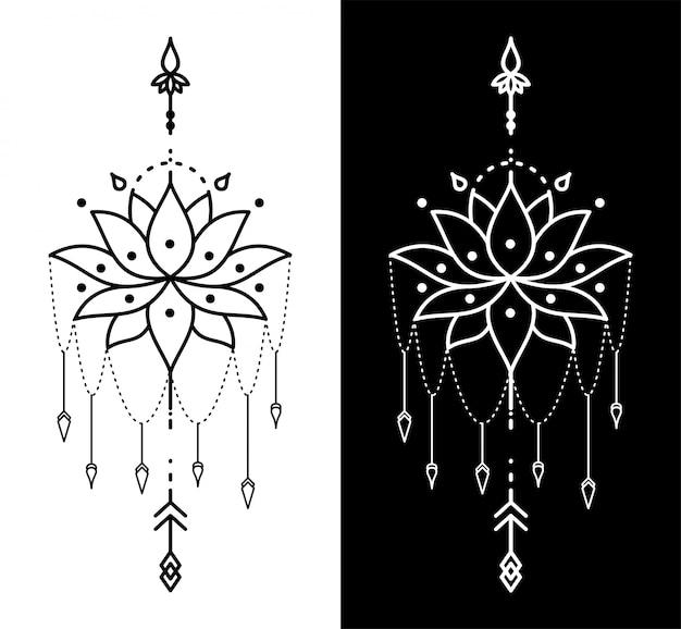 Geometrische tätowierung der lotusblume