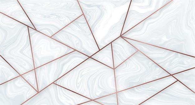 Geometrische tapete aus marmor und roségold