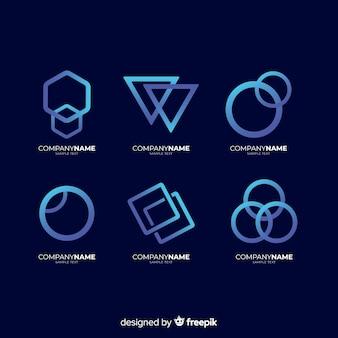 Geometrische technologische logo-sammlung mit farbverlauf