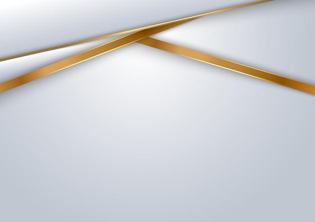 Geometrische überlappungsschicht des abstrakten schablonendesigns des weißen und grauen hintergrunds mit goldener linie.