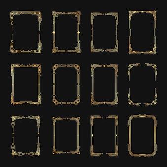 Geometrische verzierte grenzen und rahmenelemente im luxuriösen retro-stil der 1920er jahre