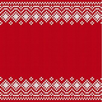 Geometrische verzierung stricken. skandinavisches strickmuster zum bedrucken von stoff. gestrickter arthintergrund mit platz für text