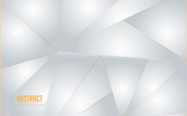 Geometrische weiße und graue farbe des abstrakten hintergrundes mit goldener linie