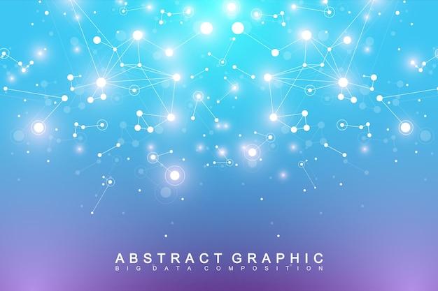 Geometrische zusammenfassung mit verbundener linien- und punktillustration