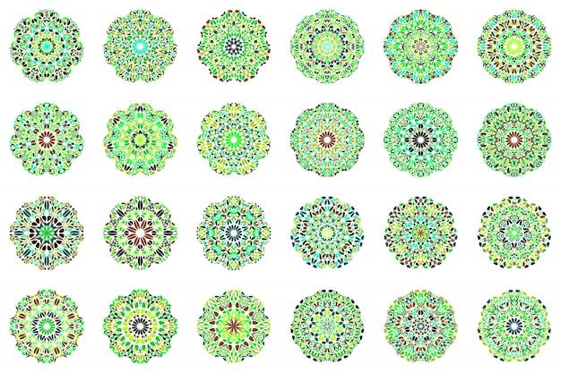 Geometrischer abstrakter blumenmandala-symbolsatz
