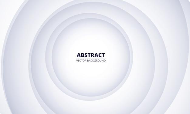 Geometrischer abstrakter hintergrund des weißen silbers. graues farbverlaufskreispapier, das in der mitte auf einem weißen hintergrund geschnitten wird. moderner trendiger eleganzhintergrund.