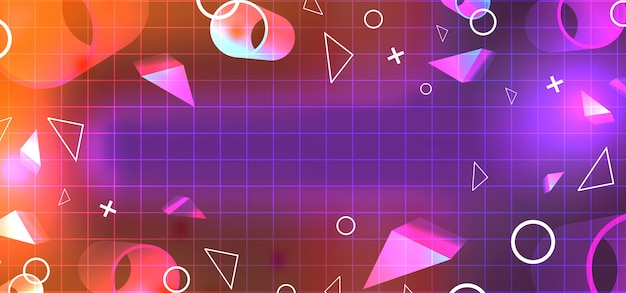Geometrischer abstrakter hintergrund mit glühenden farben