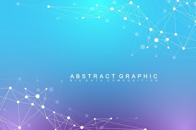 Geometrischer abstrakter hintergrund mit verbundenem linien- und punktnetz und verbindungshintergrund für sie...