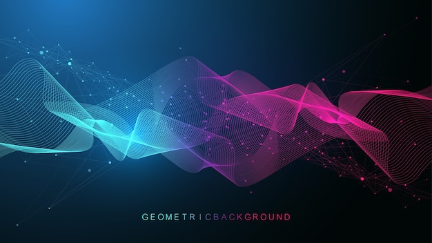 Geometrischer abstrakter hintergrund mit verbundenen linien und punkten. konnektivitätsflusspunkt.