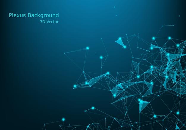Geometrischer abstrakter hintergrund mit verbundener linie und punkten. big data visualisierung. verbindungsvektor des globalen netzwerks.