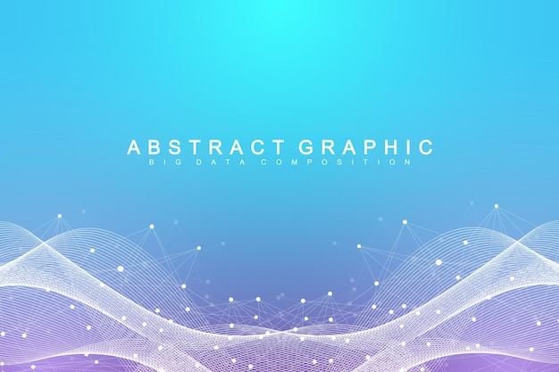 Geometrischer abstrakter hintergrund mit verbundener linie und punkten. netzwerk- und verbindungshintergrund für ihre präsentation. grafischer polygonaler hintergrund. wissenschaftliche vektorillustration.