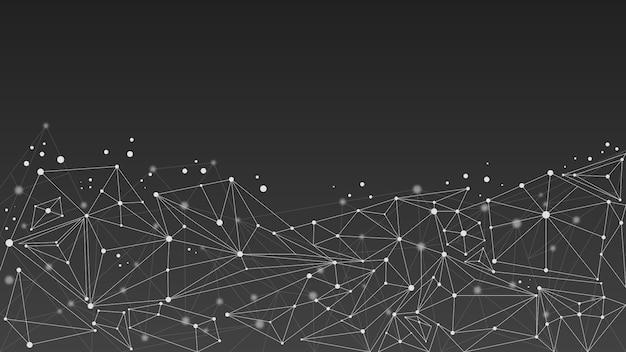 Geometrischer abstrakter molekülhintergrund, schwarzweiss