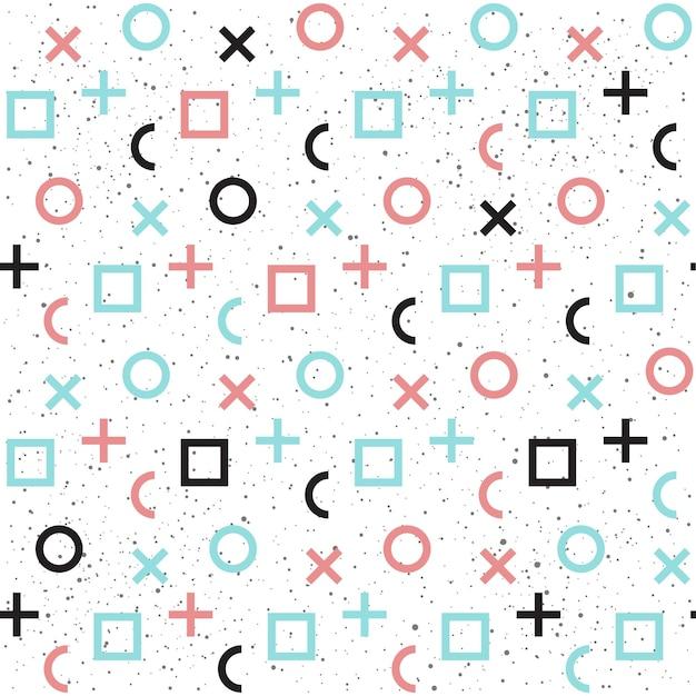 Geometrischer abstrakter nahtloser hintergrund. schwarz, blau und rosa. nahtloses muster für karte, einladung, poster, banner, plakat, tagebuch, album, skizzenbuch, menü usw. memphis-stil. 80-90er modethema.