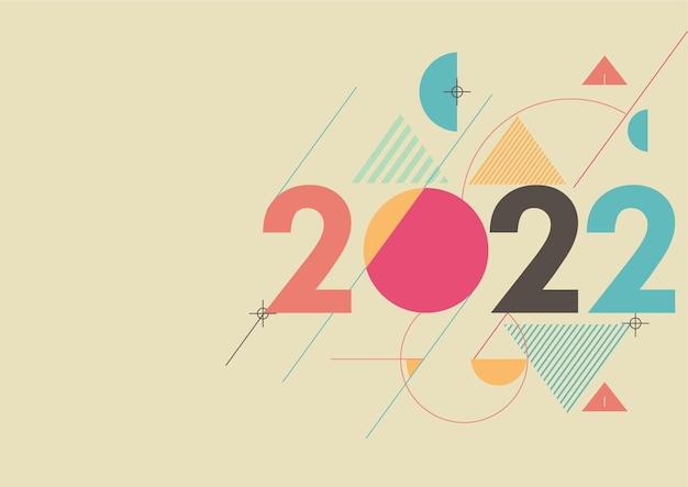 Geometrischer bunter hintergrund des guten rutsch ins neue jahr 2022