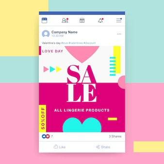 Geometrischer bunter valentinstag facebook-beitrag