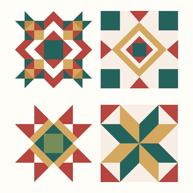 Geometrischer designvektor der bunten weihnachtsfliesen