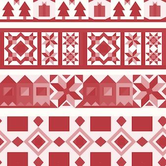 Geometrischer designvektor der roten weihnachtsfliesen