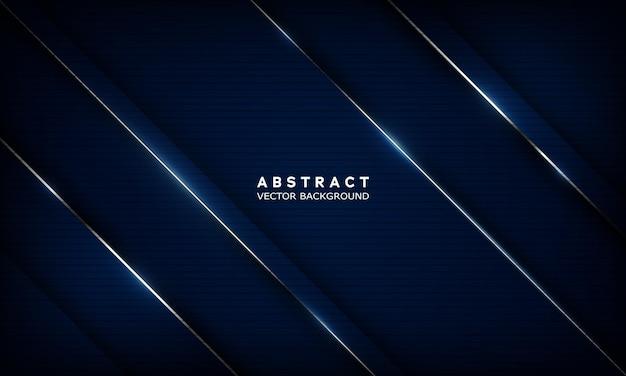 Geometrischer dunkelblauer abstrakter hintergrund mit metallischen linien