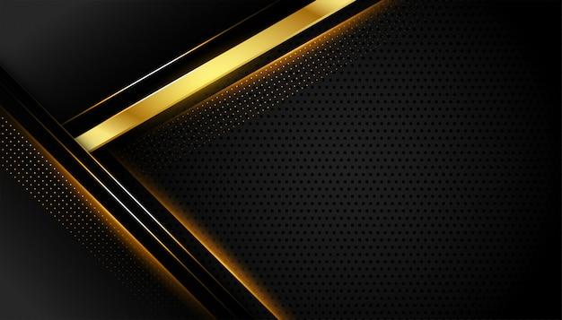 Geometrischer dunkler hintergrund mit goldenen linienformen