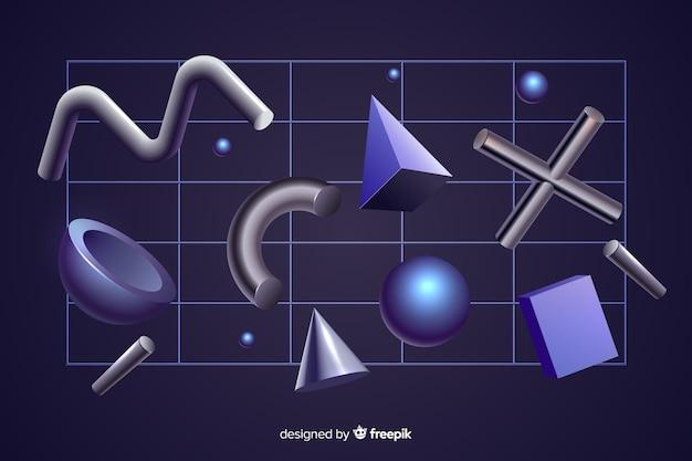 Geometrischer effekt der anti-schwerkraft-formen 3d auf schwarzen hintergrund