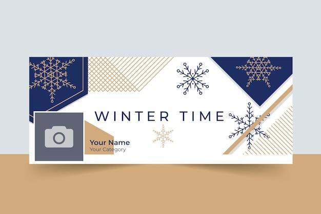Geometrischer eleganter facebook-beitrag des winters
