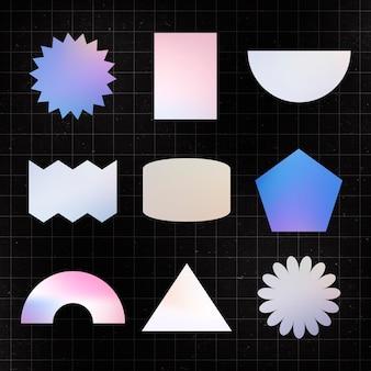 Geometrischer formaufkleber, holographischer pastellfarbflacher clipart-satzvektor