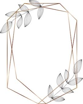 Geometrischer goldener linienrahmen mit schwarzen blättern