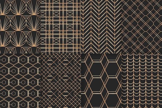 Geometrischer goldener luxusmustersatz