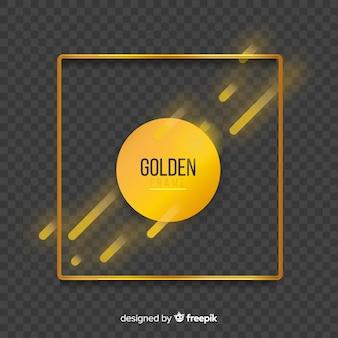 Geometrischer goldener rahmen mit lichteffekten