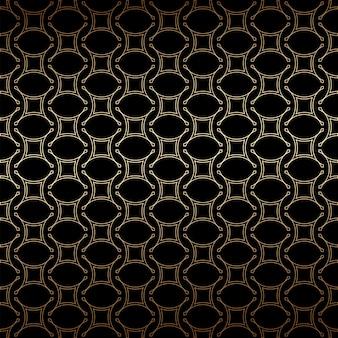 Geometrischer goldener und schwarzer linearer nahtloser einfacher musterhintergrund, art-deco-stil
