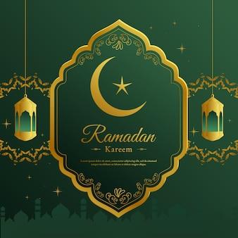 Geometrischer gruß des ramadan-grüns und des goldes