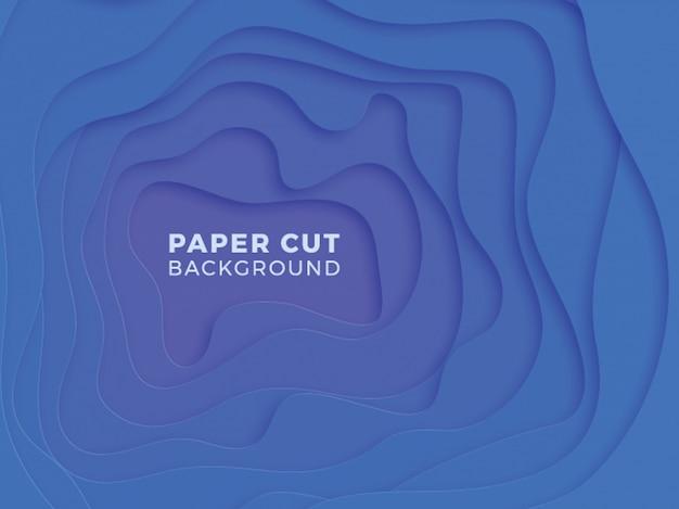 Geometrischer hintergrund 3d mit realistischem papier schnitt blaue schichten
