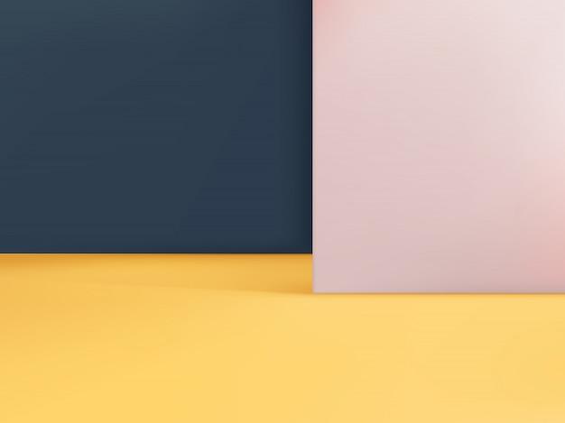 Geometrischer hintergrund, duo-schichten in gelb hellrosa & dunkelblau