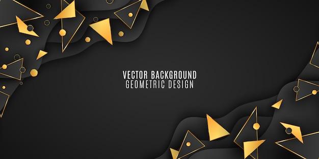 Geometrischer hintergrund für ihr design. schwarz-goldene dreiecke und kreise.