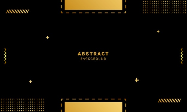 Geometrischer hintergrund mit goldformen, memphis-arttapete