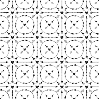 Geometrischer hintergrund mit pfeilen und herzverzierung.