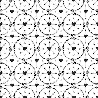 Geometrischer hintergrund mit pfeilverzierung. druckdesign im ethno-stil. nahtloses vektormuster der stammes- pfeile.