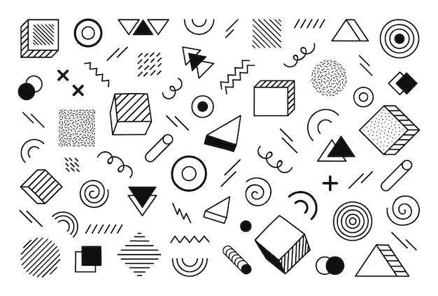 Geometrischer hintergrund mit verschiedenen handgezeichneten abstrakten formen. universelle trend-halbton-geometrische formen. moderne illustration.